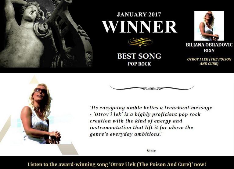 SECOND INTERNATIONAL MUSIC AWARD, LOS ANGELES 2017. - Najbolja pop-rock pesma !