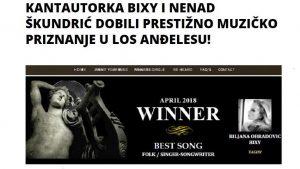 Akademiam Awards April2018 Biljana Obradovic Bixy winner Best Folk / Singer-Songwriter Song