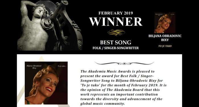Biljana Obradovic Bixy Best Song Folk Singer Songwriter - To Je Tako